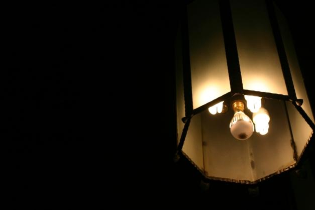 The light fixture in the Dining Hall at Brackenhurst.