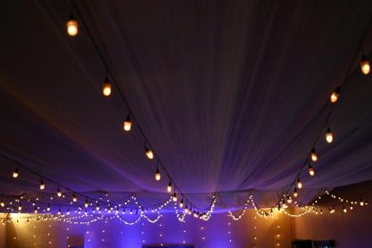 Lights over a banquet hall.