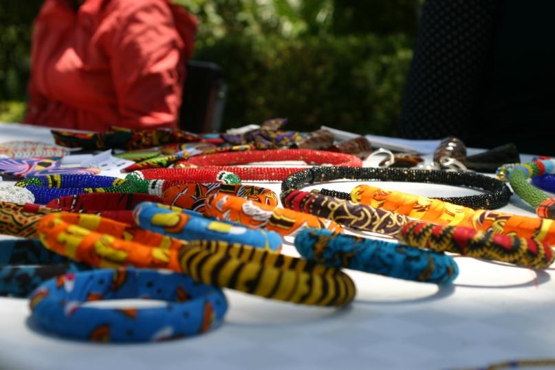 Bracelets lined up.