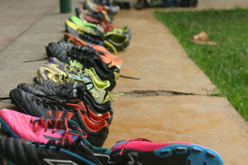 Football (soccer) is a huge part of the lifestyle at Restart. Here are the boy's cleats all lined up.