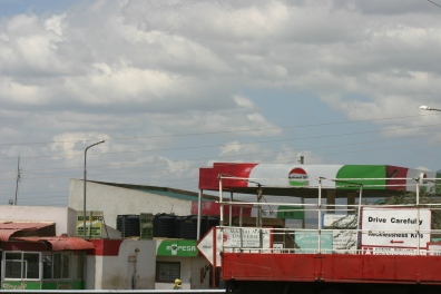 A petrol station at one of the little towns along the highway.