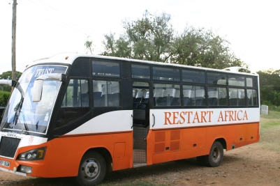 The giant orange Restart bus, used for field trips.