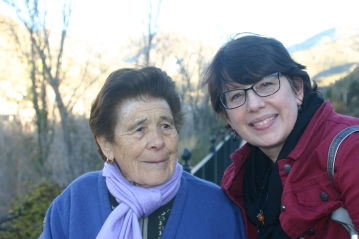 Aunt Cheryl and a little old woman we encountered on our walk to a nearby village.